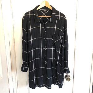 George Plus | Navy & White Plaid Flannel Top | 3X